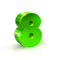 glossy green eight 8 number 3d on vector image vector image