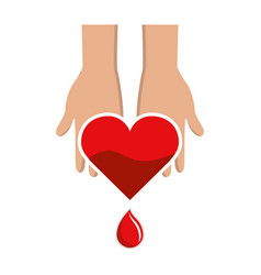 hands with blood heart drop donation symbol vector image vector image