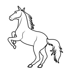 horse on two legs equine animal line vector image