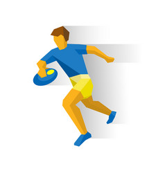 rugby player running sportsman with ball in hand vector image vector image