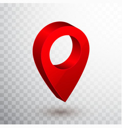 3d map pointer red navigator symbol isolated vector image