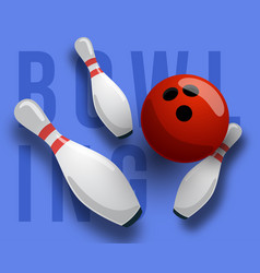 abstract background bowling text pins and ball vector image