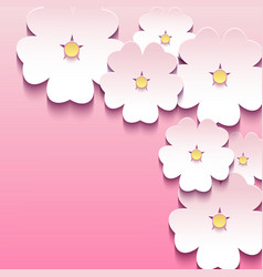 Abstract floral pink background with 3d flowers vector