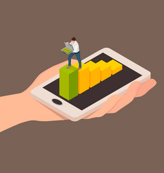abstraction of money transaction using a smartphon vector image