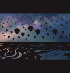Air balloons flying in night vector