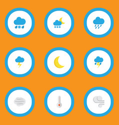 Air icons flat style set with outbreak rain-snow vector