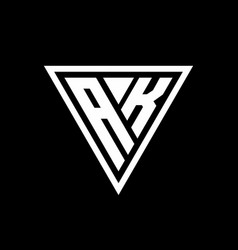 Ak logo monogram with triangle shape designs vector