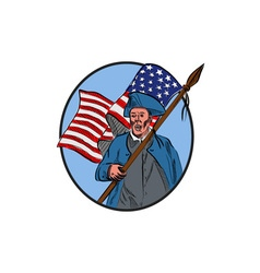 American Patriot Carrying USA Flag Circle Drawing vector image
