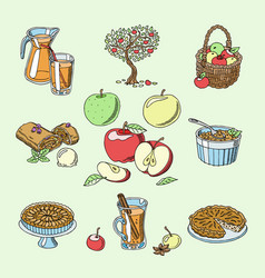 Apples healthy food applepie and applejuice vector