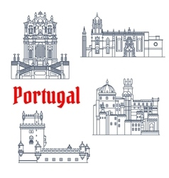 Architectural travel landmarks of Portugal icon vector image
