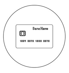 Bank cit card icon black color in circle or round vector