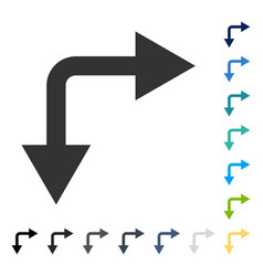 Bifurcation arrow right down icon vector