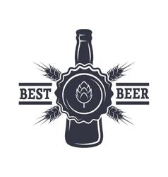 Bottle of Beer hops and malt vector image