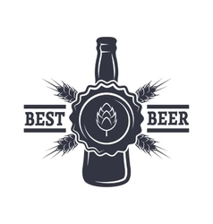 Bottle of beer hops and malt vector