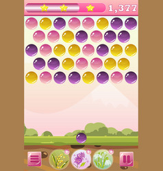 Bubble shooter game interface with bonus flowers vector