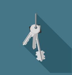 bunch keys flat icon vector image