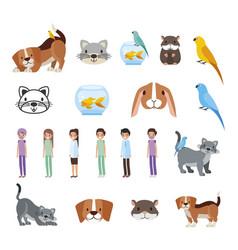 Bundle pet shop icons vector