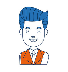 businessman character face male smile with close vector image