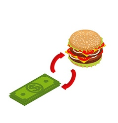 Buying hamburger isometrics Sale of fast food vector image