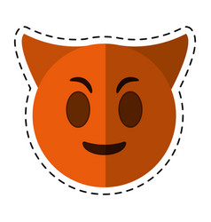 cartoon devil emoticon funny icon vector image