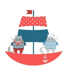 cats sailors on boat vector image
