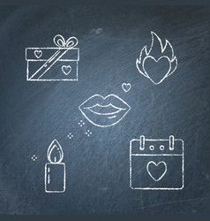Chalkboard valentine day icon set in line style vector