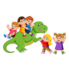 Children playing on tyrannosaurus rex body vector