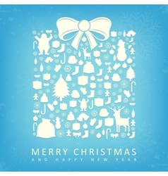Christmas card with gift box sillhouette and vector