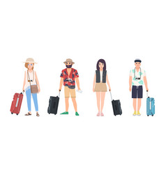 collection of male and female travelers dressed in vector image