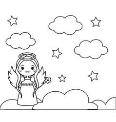 Coloring page with cute angel on clouds drawing vector