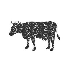 cow farm mammal color silhouette animal vector image