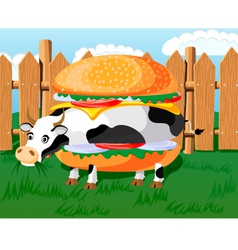 cow hamburger vector image