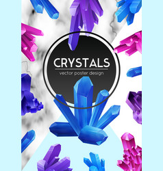 crystals realistic frame poster vector image
