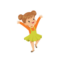 Cute happy little girl dancing in casual clothes vector
