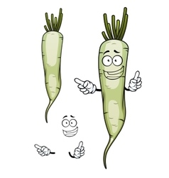 Daikon or white radish vegetable character vector