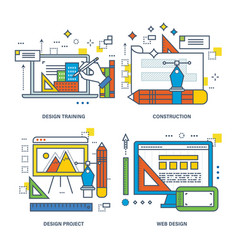 Design training construction project web vector
