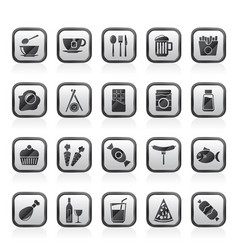 different kind of food and drinks icons 1 vector image