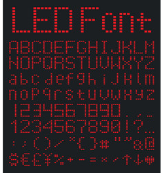 digital alphabet and numbers set red led font vector image