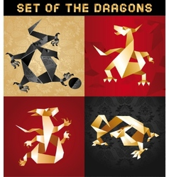 dragon origami vector image