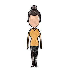 drawing woman character female standing design vector image