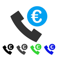 Euro phone order flat icon vector