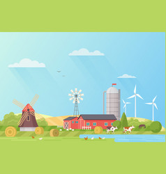 Farm landscape rural fields flat vector