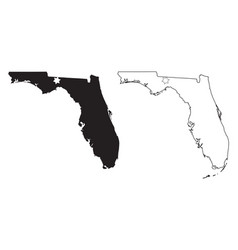 florida fl state maps usa with capital city star vector image