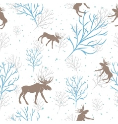 Forest deer and tree branch seamless pattern vector image