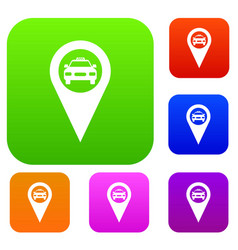 Geo taxi set collection vector