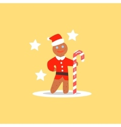 Gingerbread Man Christmas in Santa Hat vector