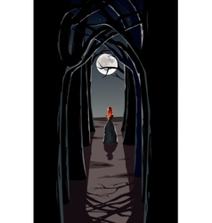 Girl in night wood vector