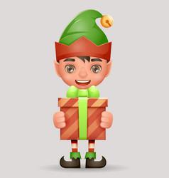 Give away bestow gift box christmas elf boy santa vector