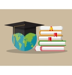 Globe graduation cap books diploma education vector
