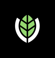 Green leaf and shield logo template farm market vector